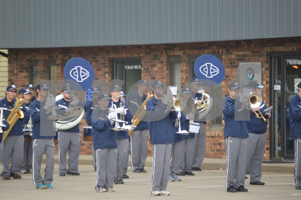 The Iowa Central band prepares to march.
