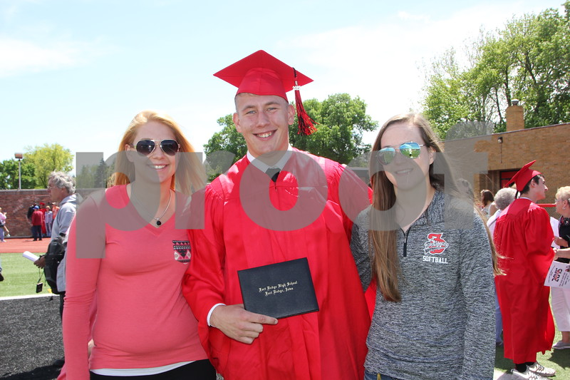 Graduation  for  Fort Dodge Senior High students was held at Dodger Stadium on May 31, 2015. Shown here left to right are: Shye Harris, Skyler Harris, and Mack Provin.
