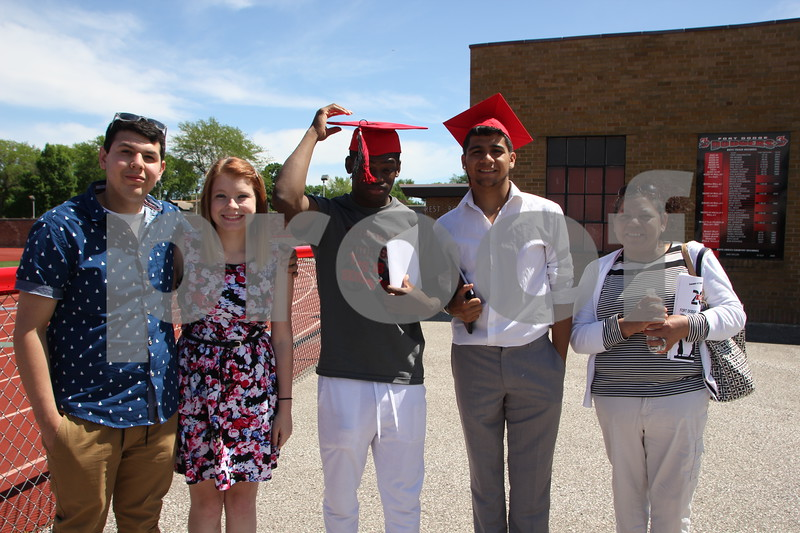 Fort Dodge Senior High students received their diplomas in a ceremony  held at Dodger Stadium on May 31, 2015. Seen here are  left to right: Josh Ruiz, Dairian Rice, John Wigley, Anthony Hernandez, and Patricia Ruiz.