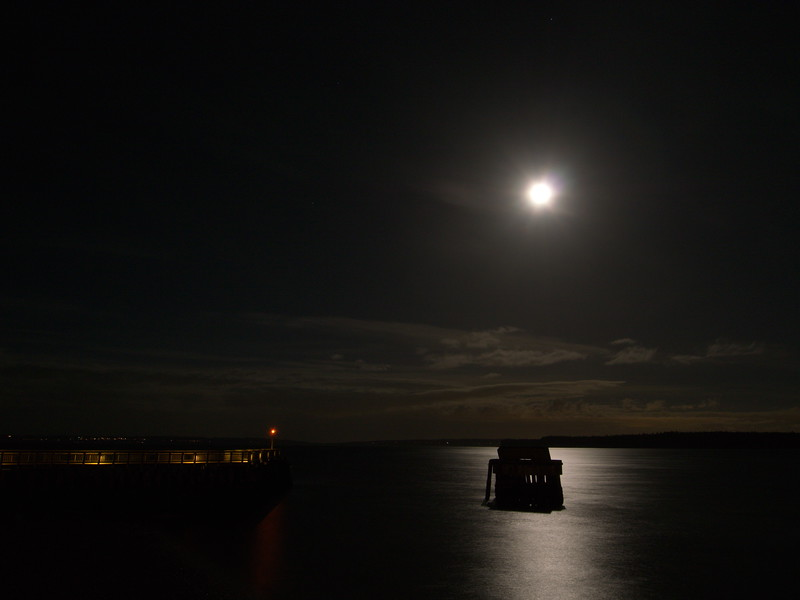 Getting mooned at the Maritime Center Dock