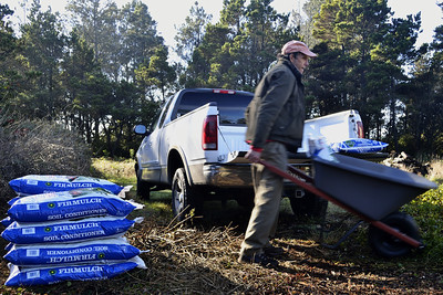 """Then it was on to chores.  Picked up many bags of soil amendment at the nursery.  We looked like official Mendocino """"farmers"""" with that payload."""
