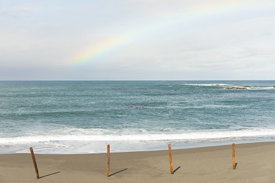 Rainbow over the ocean.
