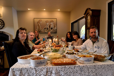 """The Lampley-Marston-Swain Thanksgiving table.  Isaiah says """"What is the hold up?!?"""""""