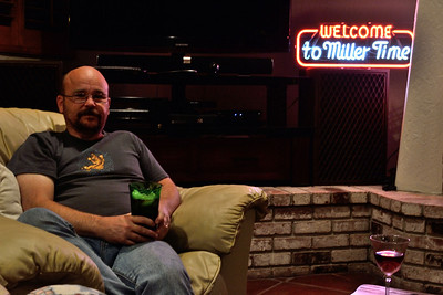 Relaxing in the man-cave corner of the family room.