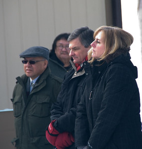 Left to right: NAN Grand Chief Harvey Yesno, Charlie Okeese (background), Minister Chris Bentley (Ontario Ministry of Aboriginal Affairs), and Laurie LeBlanc (Deputy Minister, Ontario Ministry of Aboriginal Affairs).