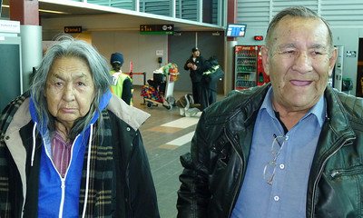 Corney Nate and his wife in the Thunder Bay airport. Corney was the Chief of Eabametoong First Nation when I first visited in year 2000.
