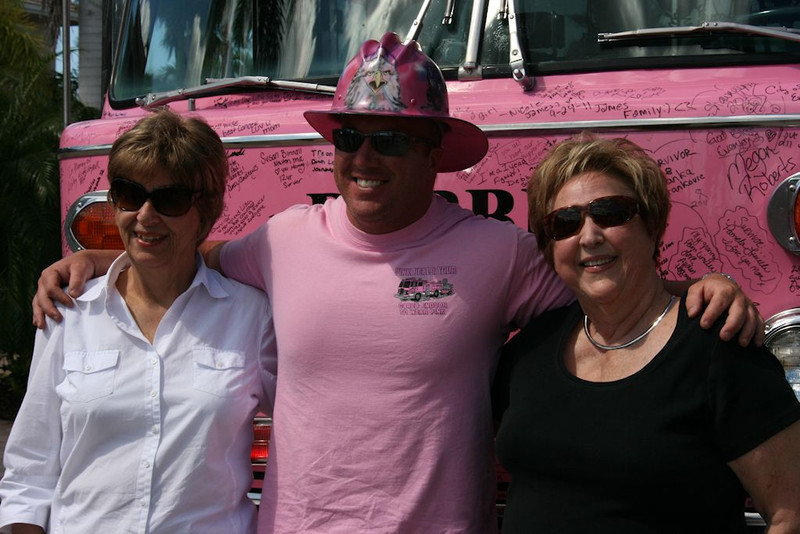 "I was honored yesterday by the Cape Coral and Pine Island Fire Dept. escorting one of the Pink Fire trucks to my home in Matlacha so I could sign ""Debbie"" (in honor of the Firefighter driver's mother in law) as a 17 year survivor of lung cancer.  It was <br /> <br /> Certainly an emotional but honored privilege for me to sign this truck.  This particular truck had been driven from No. Carolina.  As my daughter's mother- in- law, Barbara McQuade,  is a eleven year survivor (she just completed another round of chemo as her type keeps coming back.  Did I mention my son-in-law, Sean McQuade, is a firefighter with Pine Island Fire Dept.  Each pink fire truck is named after someone who has suffered from cancer.  <br /> <br /> When I was diagnosed with lung cancer Sept. 21, 1994, only 15% of the 500,000 that were confirmed with this ugly diagnosis survived.  I was one of the 15%.  My thanks go to my Oncologist and my family that took care of me but most of all to God.  <br /> <br /> I am sure that He kept me around to inspire others to fight the big C.   <br /> <br /> Bev Lauber"