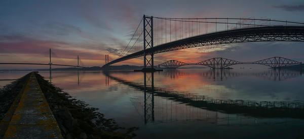 forth bridges, firth of forth, scotland.