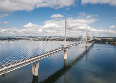 Walkers crossing the new Queensferry Crossing, South Queensferry, Scotland, United Kingdom during the opening weekend of the new bridge. Aerial photo from drone camera. 02 September, 2017. Copyright Liam Anderstrem / Airborne Lens.