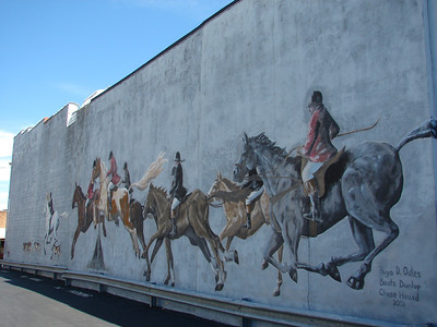 "Historic mural depicting ""foxchasing"", a popular pastime in the Central VA region."