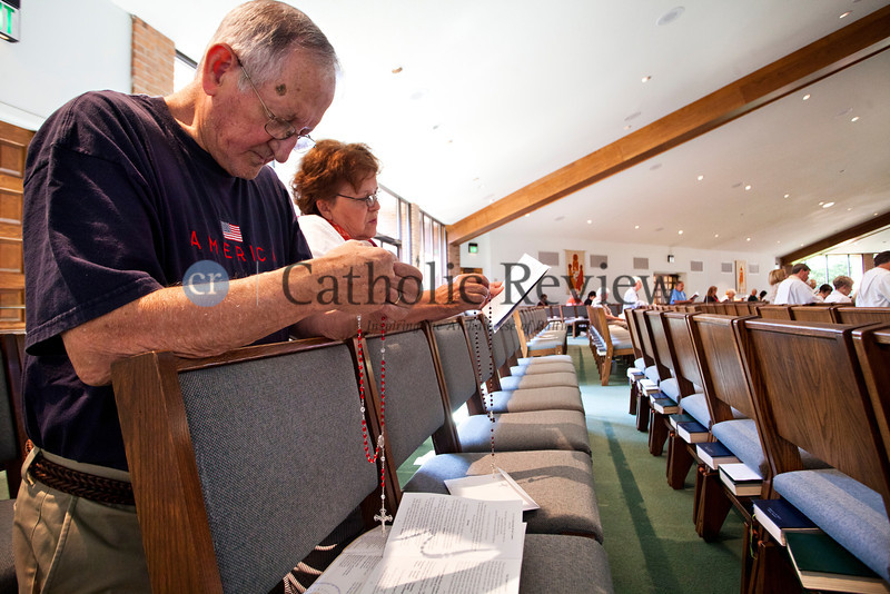 As part of the Fortnight for Freedom, Arv and Glenda Devage participate in an observance of the Patriotic Rosary at St. Mark, Fallston June 23. TOM McCARTHY JR. | CR STAFF