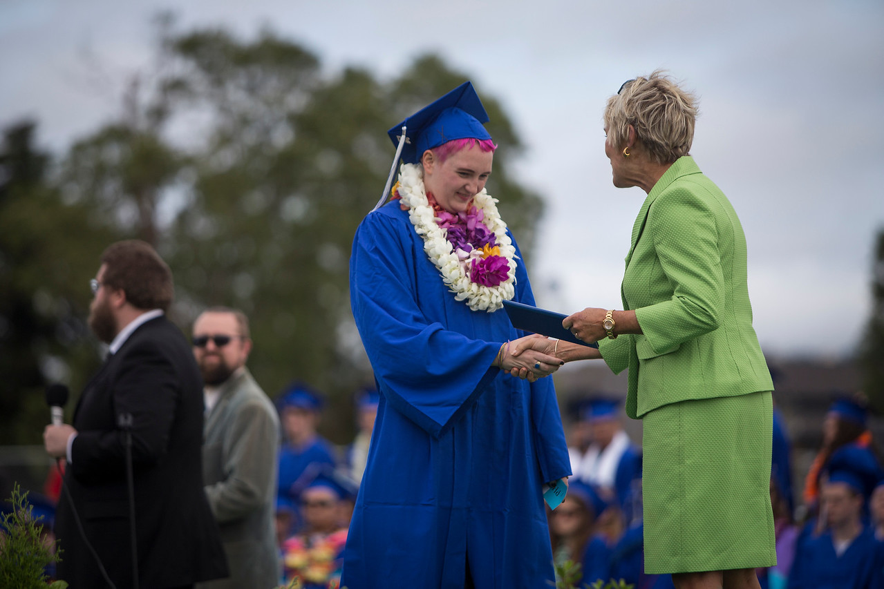Brandy Samuelson walks across the stage during her graduation ceremony at Fortuna High stadium on June 16.  (Sam Armanino / Times-Standard)