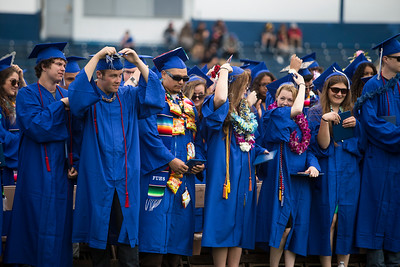 Fortuna High graduates turn their tassels to represent their achievement and marking the end of the ceremony on June 16.  (Sam Armanino / Times-Standard)