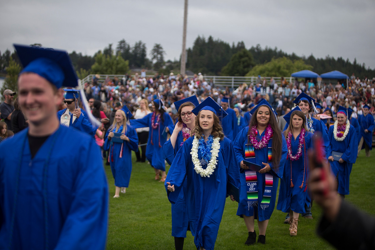 Both Fortuna High and East High shared a graduation ceremony on June 16 at the Fortuna stadium.  (Sam Armanino / Times-Standard)