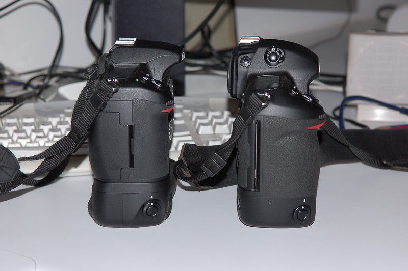 D3 and D300 with MB-D10 grip comparison images, side by side.
