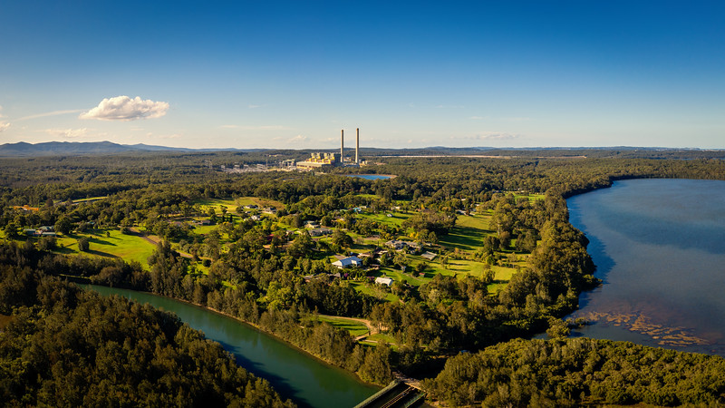 An aerial view of Origin Energy's Eraring power station on the shores of Lake Macquarie, NSW. The plant is now Australia's largest emitter of carbon dioxide, burning 5.2 million tonnes of coal per year from five local mines and releasing nearly 20 million tonnes of greenhouse gases into the atmosphere every year.
