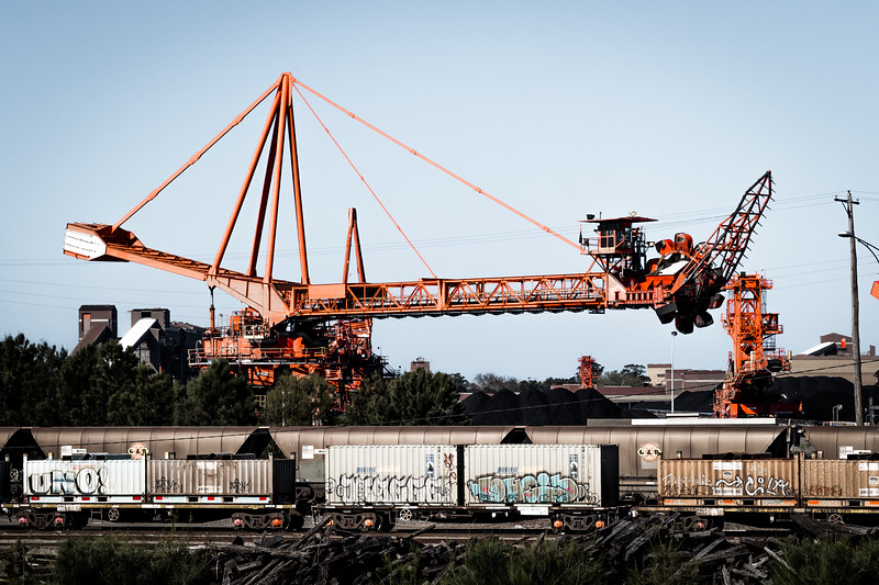 The full scale of the bucket wheel conveyors at Newcastle's Carrington Coal Terminal can be seen in this shot.