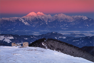 Winter view on Kamniško-Savinijske Alps from Blegoš