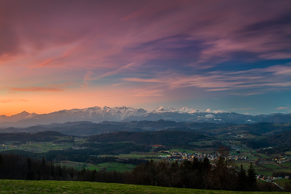 Dusk over Kamnik Alps