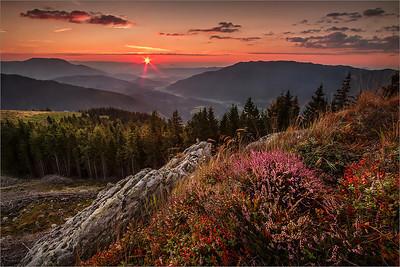 Sunrise from Barona peč, Kranjska reber