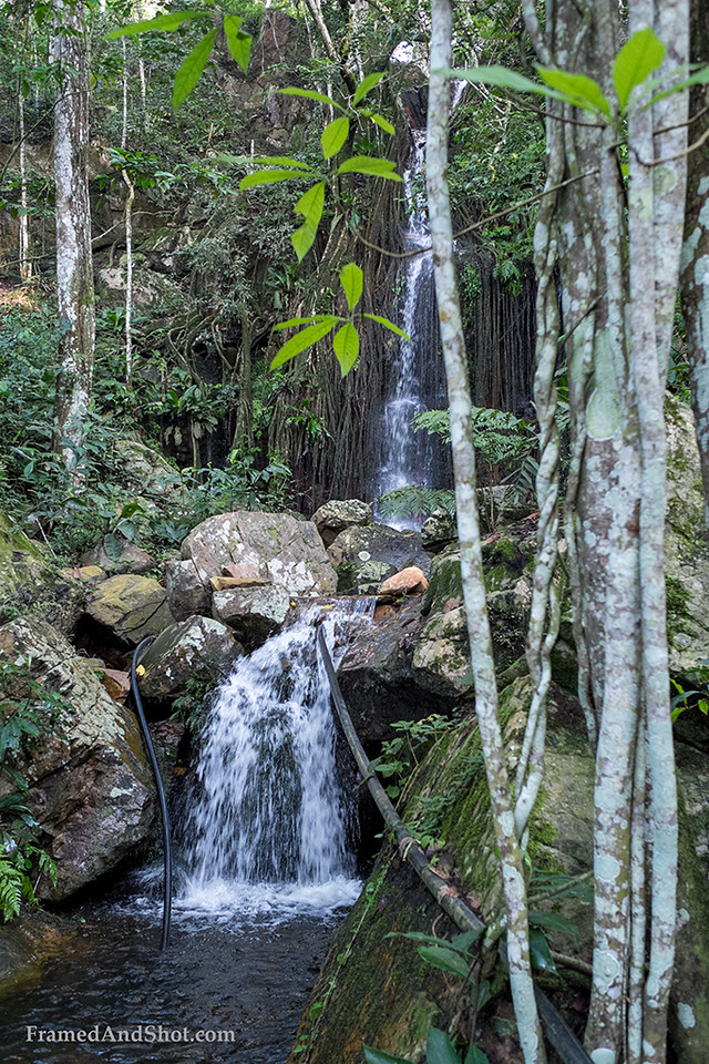 """<p style=""""color:#F4F2F5""""></p><h4>The waterfall supports the Fazenda and the small settlements we pass by with clean water.</h4>"""