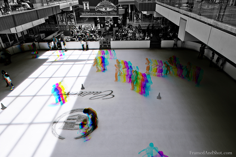 "<h4><strong> Skating Rink Multitemporal Colour </strong><br> <span style=""font-size: 10pt"">This is the ice-skating rink of the Houston Galleria Shopping Mall. <span style=""color: #333333;"">.</span> Tecnique </strong> described by       <span lang=""NO-BOK""><a class=""aligncenter"" href=""http://www.naturfotograf.com/index2.html"" target=""_blank"">Bjørn Rørslett (under ""Far Side"" in the leftmost colomn). </a></span>.<span style=""font-size: 10pt"">  This is a technique that we have wanted to try for a while, but have had trouble finding a fitting motif.  The picture is created by combining 3 different exposure into the RGB colour channels in Photoshop.  The areas were there is no movement will be combined to a grayscale image, while the areas of movement will be coloured."