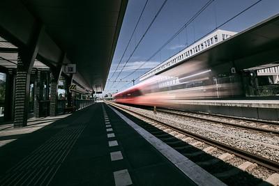 Trein in lange sluitertijd