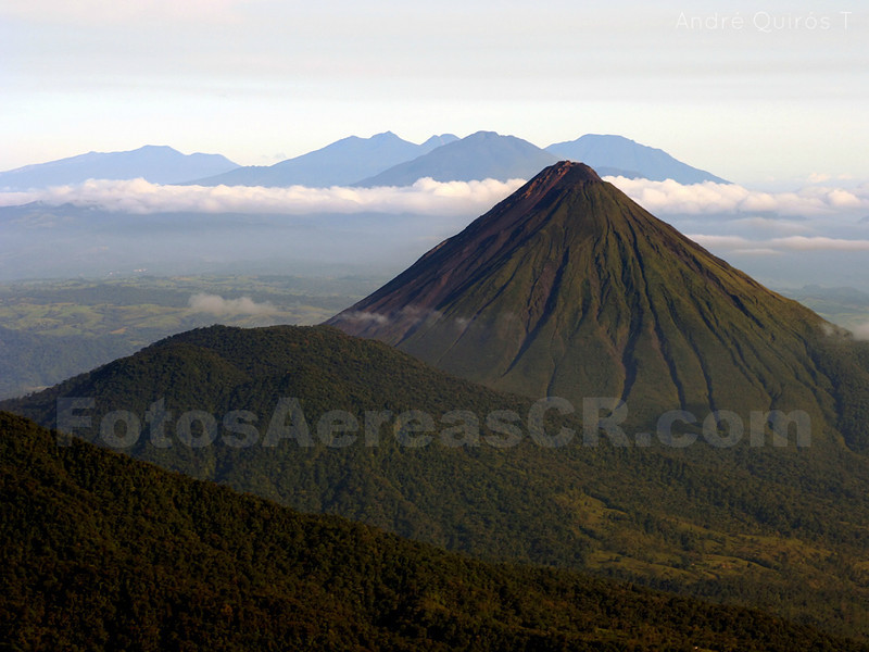 Arenal Volcano with Tenorio, Miravalles and Rincon de la Vieja volcanoes in the background.
