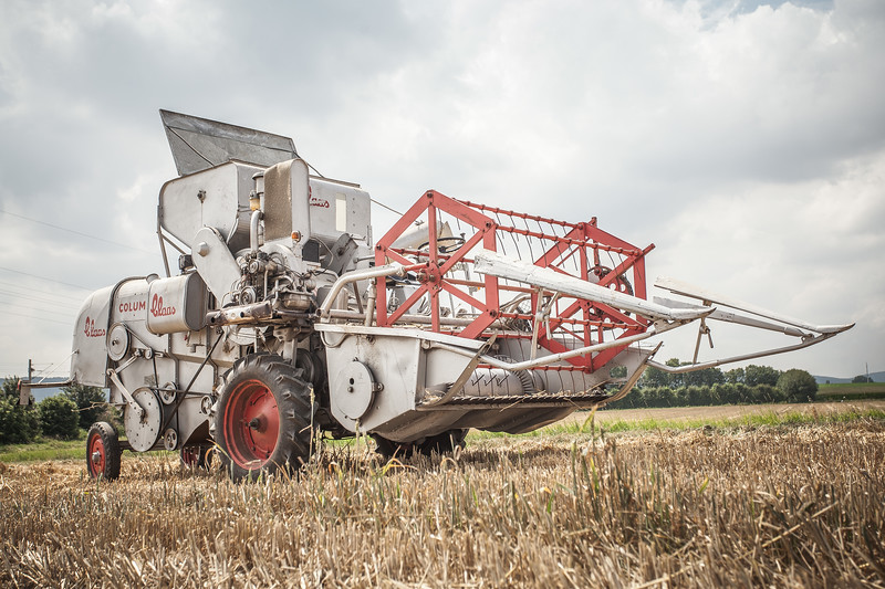 Farmer Fritz Narten and his restored Claas Columbus Combine from 1959.