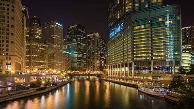 Michigan Av at night.