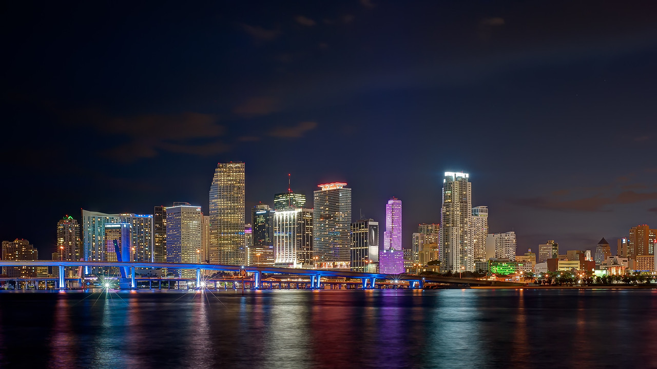 Skyline of Miami from Watson Island