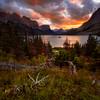 Pôr Do Sol Sobre o Saint Mary Lake