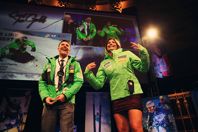 Will Brandenburg and Julia Mancuso showing off the official U.S. Alpine Team jackets in the live auction. 2012 New York Gold Medal Gala November 7, 2012 at Gotham Hall, New York City Photo: Sarah Brunson/USSA