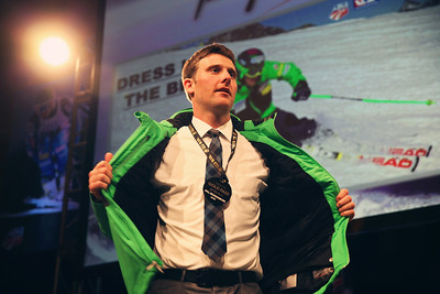 Will Brandenburg showing off the official U.S. Men's Alpine Team jacket in the live auction. 2012 New York Gold Medal Gala November 7, 2012 at Gotham Hall, New York City Photo: Sarah Brunson/USSA