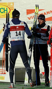 US Ski Team athlete Andy Newell (right) congratulates teammate Torin Koos (left) on his first World Cup podium in Otepaeae, Estonia Photo Credit: Pete Vordenberg