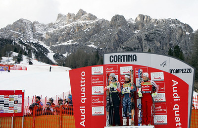Cortina d'Ampezzo, ITALY:  (LtoR) Austrian Nicole Hosp, US Julia Mancuso and Austrian Renate Goetschl pose on the podium of the Alpine Women's Super-G in Cortina 19 January 2007. US Julia Mancuso won the race, Austrian Nicole Hosp finished second and her compatriot Renate Goetschl third.  AFP PHOTO VINCENZO PINTO  (Photo credit should read VINCENZO PINTO/AFP/Getty Images)