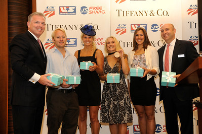 The stars were out early Tuesday, Sept. 13 for Breakfast at Tiffany. The U.S. Ski and Snowboard Association (USSA) announced a new partnership with Tiffany & Co. with the prestigious USSA Gold Pass, good for unlimited skiing at any resort in America. Thomas O'Rourke, Vice President, Business Sales, Tiffany & Co., Olympic medalist Andrew Weibrecht, Olympic medalist and X Games champ Lindsey Jacobellis, Olympic gold medalist Donna Weinbrecht, X Games champ Jen Hudak, and Andrew Judelson, USSA EVP, Chief Revenue and Marketing Officer (Photo by Jon Simon)