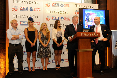 The stars were out early Tuesday, Sept. 13 for Breakfast at Tiffany. The U.S. Ski and Snowboard Association (USSA) announced a new partnership with Tiffany & Co. with the prestigious USSA Gold Pass, good for unlimited skiing at any resort in America. Olympic medalist Andrew Weibrecht, Olympic medalist and X Games champ Lindsey Jacobellis, Olympic gold medalist Donna Weinbrecht, X Games champ Jen Hudak. (Photo by Jon Simon)