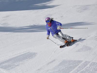 Squaw Valley 2012 U.S. Ski Team Day April 7, 2012 U.S. Ski Team alpine alumni, Tamara McKinney Dawn Patrol with U.S. Ski Team Athletes and Olympic Sponsors Photo: Katie Perhai/USSA