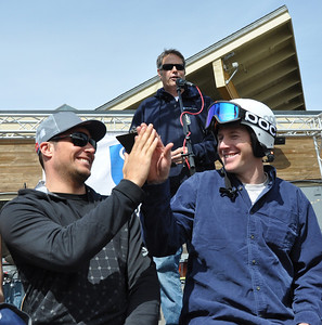 Squaw Valley 2012 U.S. Ski Team Day April 7, 2012 Awards Ceremony at KT Base Bar Aksel Lund Svindal and Marco Sullivan high five after hearing their pro-am results. Photo: Katie Perhai/USSA
