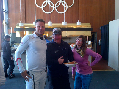 Squaw Valley 2012 U.S. Ski Team Day April 7, 2012 Aksel Lund Svindal, Todd Kelly and Julia Mancuso break for lunch before the big pro-am race Photo: Jessica Miller/USSA
