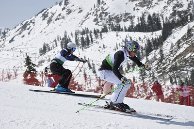 Squaw Valley 2012 U.S. Ski Team Day April 7, 2012 Pro-Am race Aksel Lund Svindal (light green), Marco Sullivan (dark green) Photo: Katie Perhai/USSA