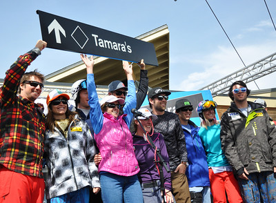 Squaw Valley 2012 U.S. Ski Team Day April 7, 2012 Awards Ceremony at KT Base Bar Tamara McKinney show's off the signage for her name-sake run at Squaw Valley. Photo: Katie Perhai/USSA