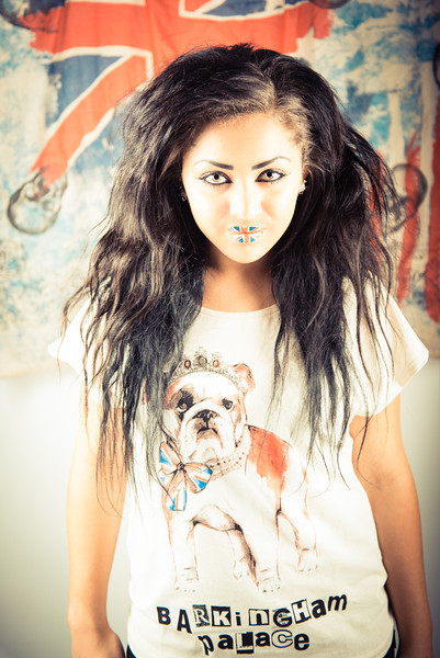 Nicolle Jade Smith wearing 'Barkingham Palace' T-Shirt by Primark, 'Union Jack' by Violent Lips & Skull Earrings by Top Shop<br /> Photograph by Jacqueline Allott