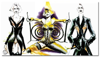 John Paul Gaultier's sketches of Madonna's outfits for her Blond Ambition Tour