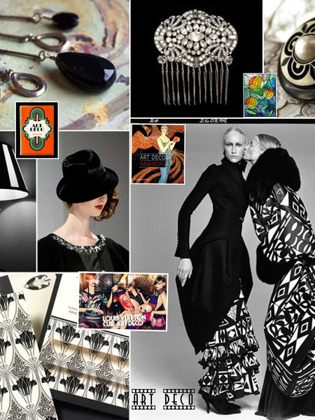 "Art Deco was introduced in the 1920's and reigned through the 1930's, encompassing both the Roaring Twenties and the Great Depression. It is an elegant style of decorative art and architecture reflective of Art Nouveau, yet with more modern sophistication. Art Deco features sleek straight lines and an element of boldness.The movement affected city styles, architecture, high fashion, jewelry, commercial printmaking, and interior design, and embraced lifestyles of hedonism, indulgence and mass consumption. The term Art Deco was not coined until the 1960's by Bevis Hillier, a British historian and critic. Notable Art Deco buildings include the Empire State Building, Rockefeller Center, Radio City Music Hall, The Chrysler Building, and the Midland Grand Hotel. <br /> <br /> Source: <a href=""http://www.arthistoryguide.com/Art_Deco.aspx"">http://www.arthistoryguide.com/Art_Deco.aspx</a><br /> <br /> Image created by Jacqueline Allott on the iPad using the Pic Collage App"