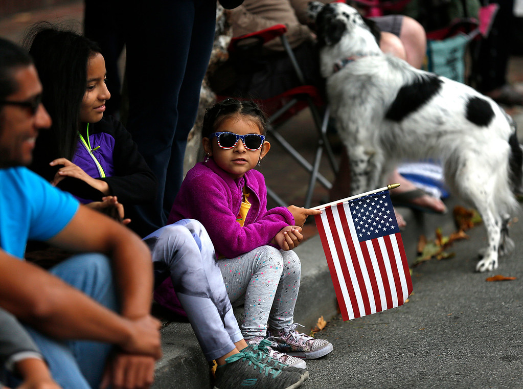 . Brianna Goldman, 6, waits for the the Fourth of July parade in downtown Monterey on Tuesday July 4, 2017. (David Royal for the Monterey Herald)