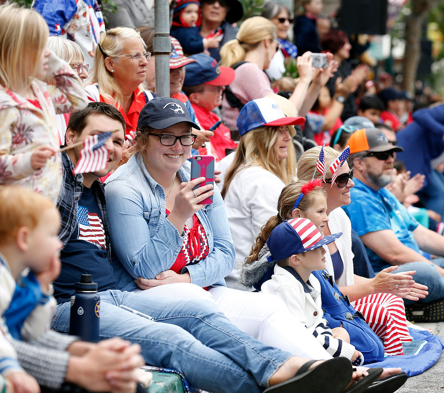 . People watch the Fourth of July parade in downtown Monterey on Tuesday July 4, 2017. (David Royal for the Monterey Herald)