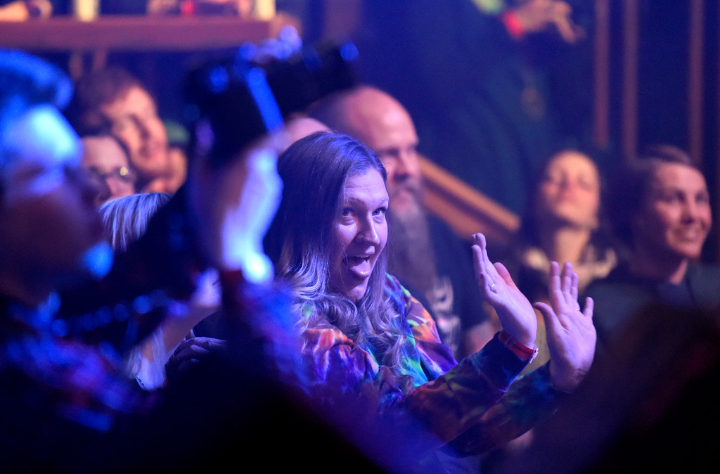 . Cheyenne Christian dances to the music during a concert at the Fox Theatre on Tuesday in Boulder. For more photos of the concert go to www.dailycamera.com Jeremy Papasso/ Staff Photographer/ Feb. 14, 2017