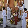 Fr. Tim proclaims the Gospel